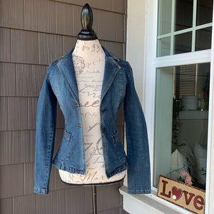 HALOGEN Fitted Deep V Neck Denim Blazer Jacket XS